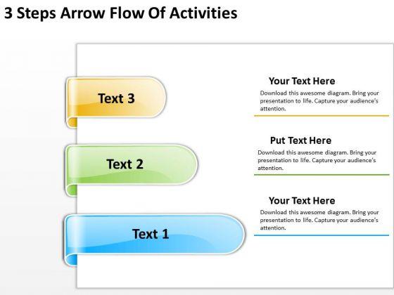 Arrow In PowerPoint 3 Steps Flow Of Activities Slides