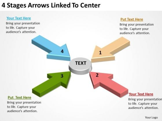 Arrow In PowerPoint 4 Stages Arrows Linked To Center Slides