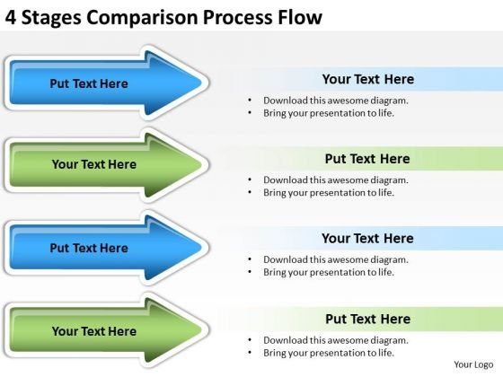 Arrow In PowerPoint 4 Stages Comparison Process Flow Slides