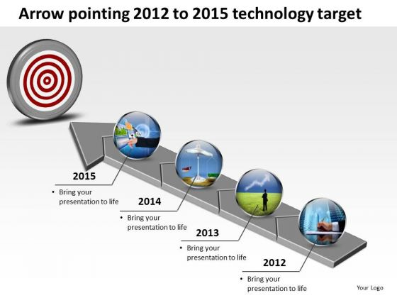 Arrow Pointing 2012 To 2015 Technology Target PowerPoint Templates Ppt Slides Graphics