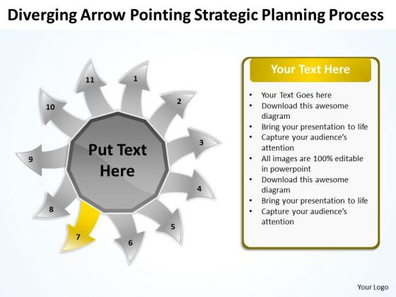Arrow Pointing Strategic Planning Process Arrow Circular Diagram PowerPoint Templates