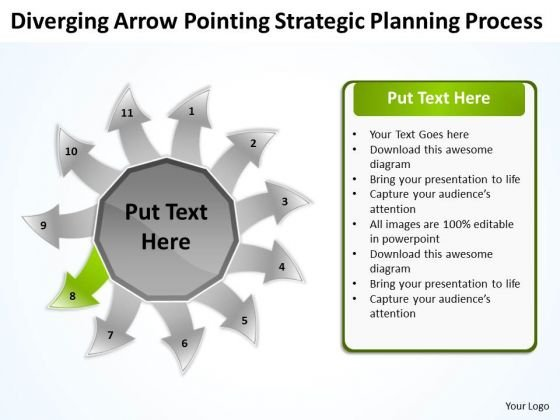 Arrow Pointing Strategic Planning Process Circular Diagram PowerPoint Templates