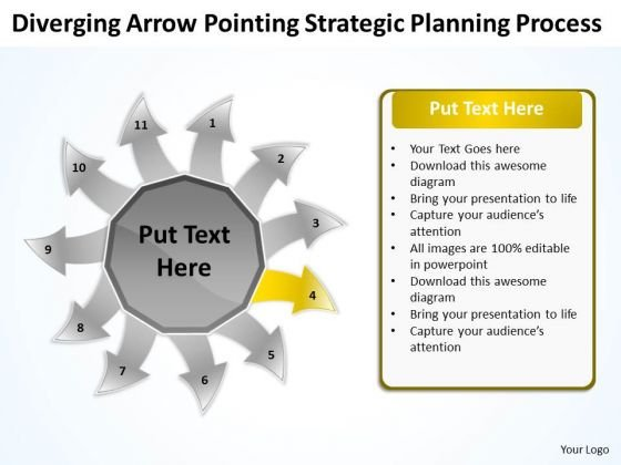 Arrow Pointing Strategic Planning Process Circular Flow Layout Network PowerPoint Slides
