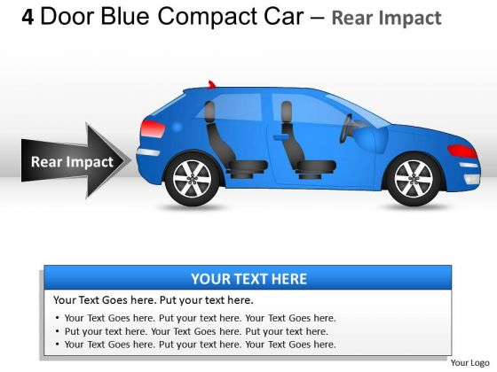Arrows 4 Door Blue Car Side View PowerPoint Slides And Ppt Diagram Templates
