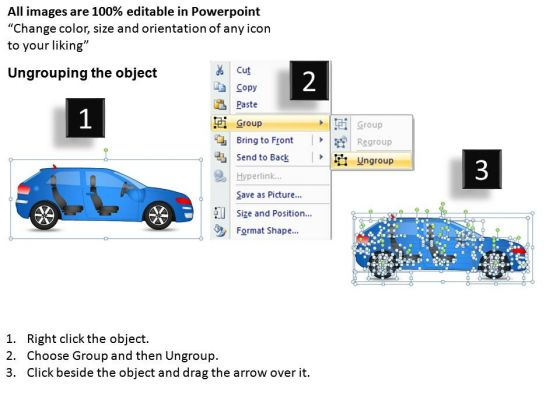 arrows_4_door_blue_car_side_view_powerpoint_slides_and_ppt_diagram_templates_2