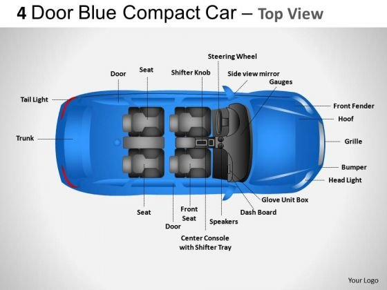 Arrows 4 Door Blue Car Top View PowerPoint Slides And Ppt Diagram Templates