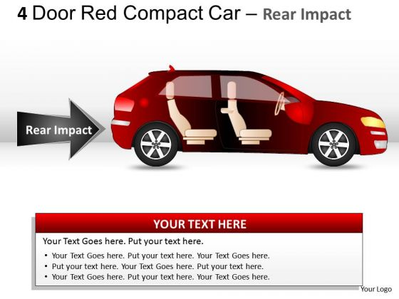 Arrows 4 Door Red Car Side View PowerPoint Slides And Ppt Diagram Templates