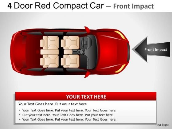 Arrows 4 Door Red Car Top View PowerPoint Slides And Ppt Diagram Templates