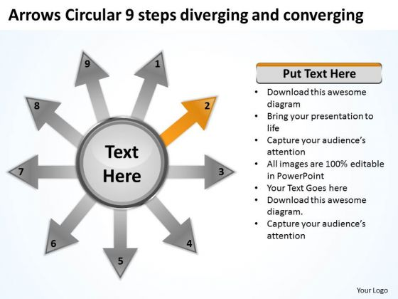 Arrows Circular 9 Steps Diverging And Converging Cycle Diagram PowerPoint Slides