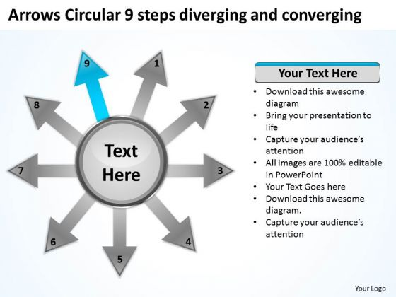 Arrows Circular 9 Steps Diverging And Converging Process Chart PowerPoint Slides
