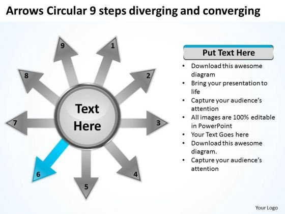 Arrows Circular 9 Steps Diverging And Converging Process Network PowerPoint Slides