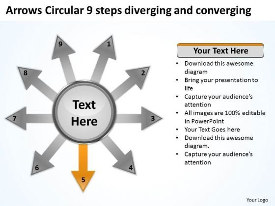 Arrows Circular 9 Steps Diverging And Converging Target Process PowerPoint Slides