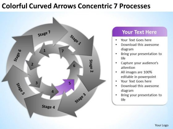 Arrows Concentric 7 Processess Ppt Sample Business Plans For Small PowerPoint Slides