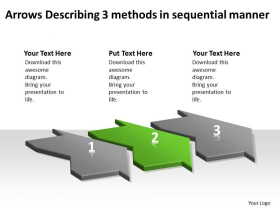 Arrows Describing 3 Methods Sequential Manner Flow Charts Vision PowerPoint Templates