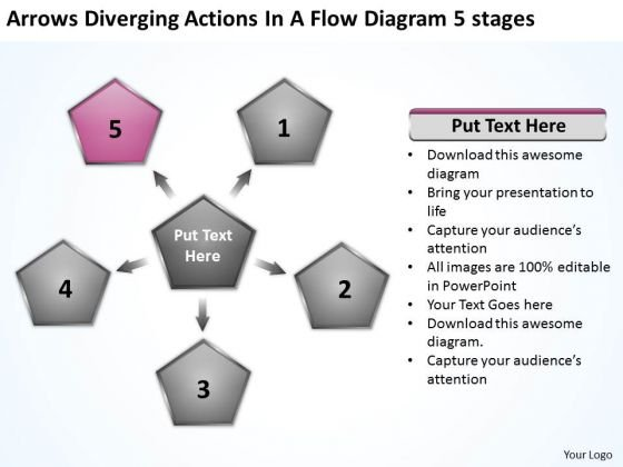 Arrows Diverging Actions Flow Diagram 5 Stages Business Cycle Chart PowerPoint Templates