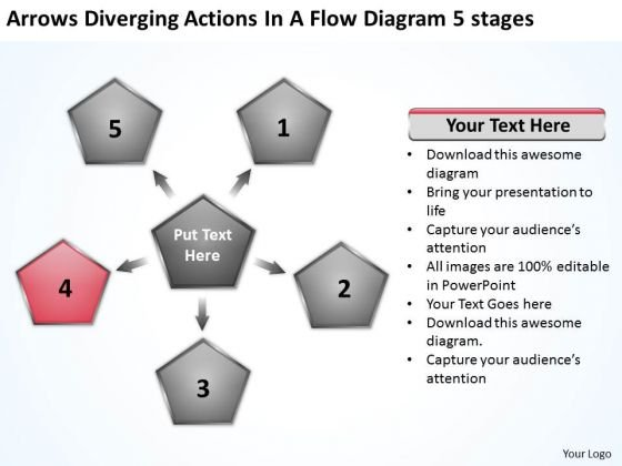 Arrows Diverging Actions Flow Diagram 5 Stages Ppt Cycle Chart PowerPoint Templates
