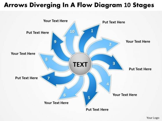 Arrows Diverging Flow Diagram 10 Stages Ppt Pie Chart PowerPoint Templates
