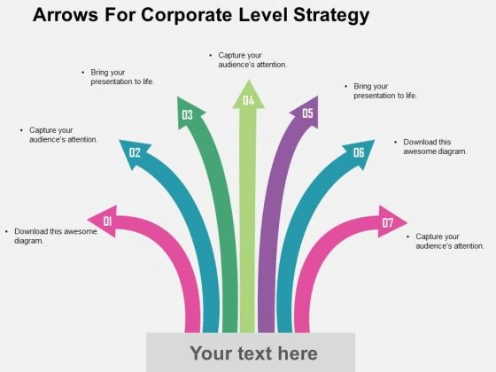 Arrows For Corporate Level Strategy PowerPoint Template