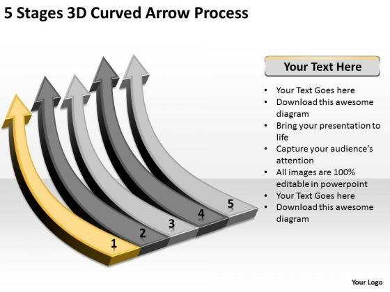 Arrows For PowerPoint 3d Curved Process Templates Backgrounds Slides
