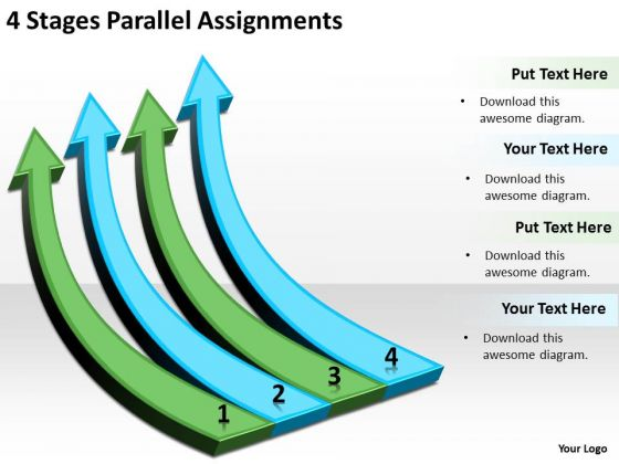 Arrows For PowerPoint Free 4 Stages Parallel Assignments Slides