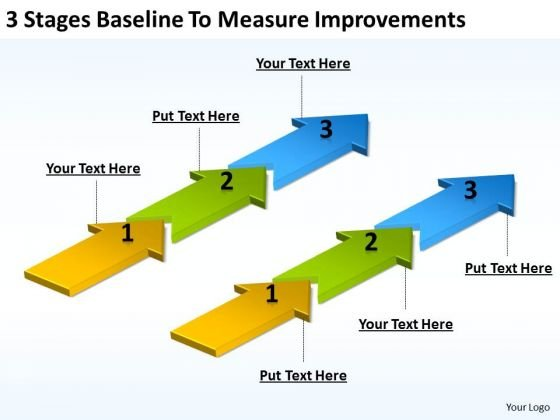 Arrows For Ppt Baseline To Measure Improvements PowerPoint Templates Backgrounds Slides
