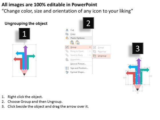 arrows_on_pencil_in_different_directions_powerpoint_template_2