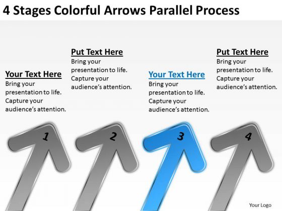 Arrows Parallel Process Business Plan Financial Projections PowerPoint Slides