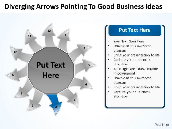 Arrows Pointing To Good Business Ideas Circular Flow Layout Diagram PowerPoint Slide
