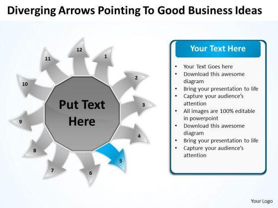 Arrows Pointing To Good Business Ideas Circular Flow Layout Diagram PowerPoint Slides