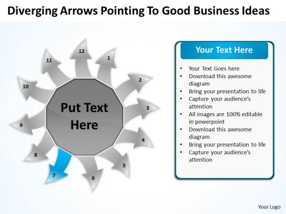 Arrows Pointing To Good Business Ideas Circular Flow Layout Diagrams PowerPoint Slides