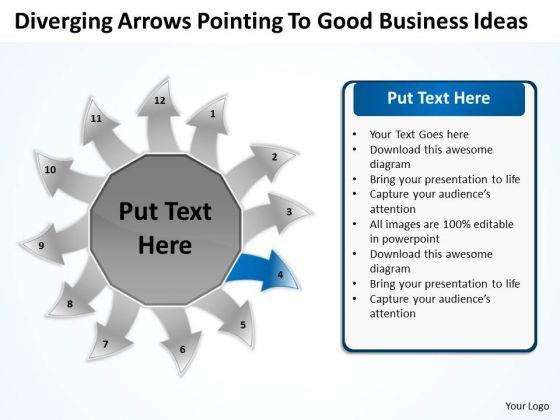 Arrows Pointing To Good Business Ideas Ppt Circular Flow Layout Diagram PowerPoint Slides