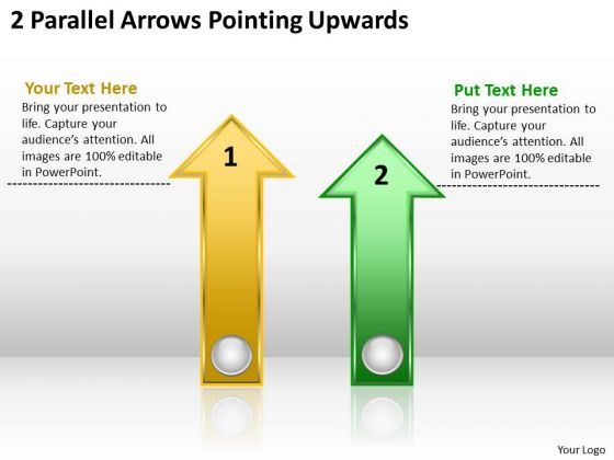 Arrows PowerPoint 2 Parallel Pointing Upwards Templates