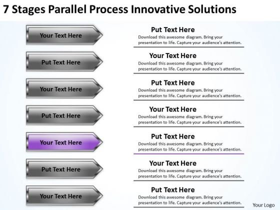 Arrows PowerPoint 7 Stages Parallel Process Innovative Solutions Slides