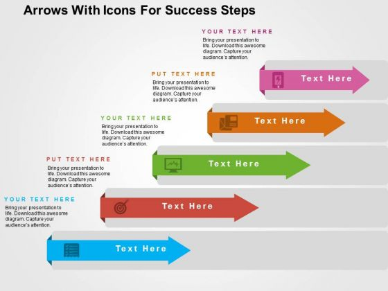 Arrows With Icons For Success Steps PowerPoint Templates