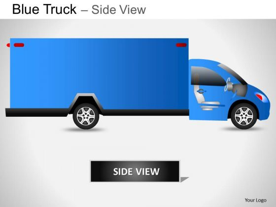 Art Blue Truck Side View PowerPoint Slides And Ppt Diagram Templates