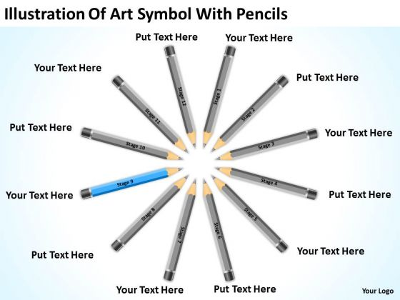 Art Symbol With Pencils Ppt Business Plan Software Download PowerPoint Slides
