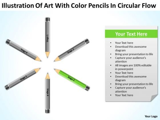 Art With Color Pencils In Circular Flow Business Plan PowerPoint Template