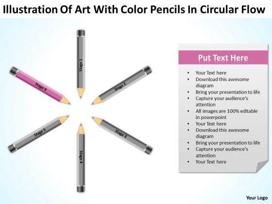 Art With Color Pencils In Circular Flow Ppt Business Plan PowerPoint Slides