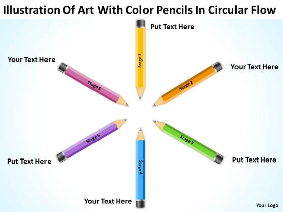 Art With Color Pencils In Circular Flow Ppt Business Plan PowerPoint Templates