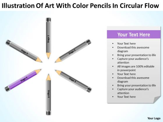 Art With Color Pencils In Circular Flow Ppt Business Plan Start Up PowerPoint Template