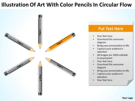 Art With Color Pencils In Circular Flow Ppt Sample Business Plan Templates PowerPoint