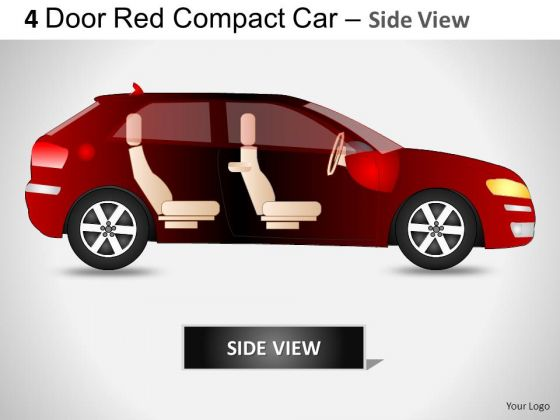Auto 4 Door Red Car Side View PowerPoint Slides And Ppt Diagram Templates