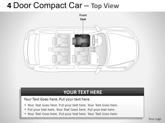 Automobile 4 Door Blue Car Top View PowerPoint Slides And Ppt Diagrams Templates