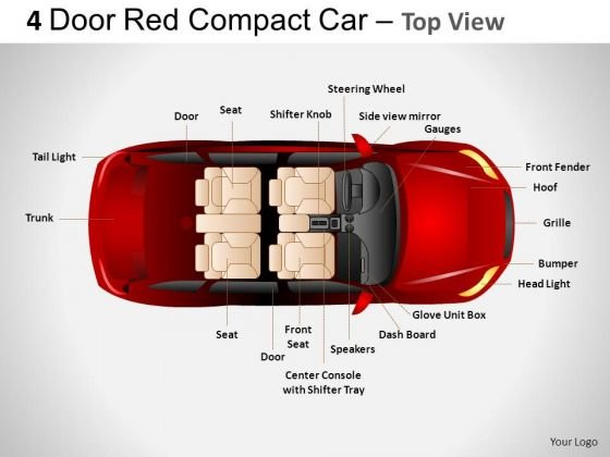 Automobile 4 Door Red Car Top View PowerPoint Slides And Ppt Diagrams Templates