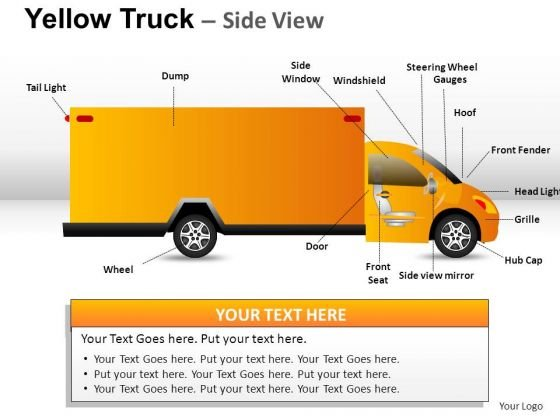 Automobile Yellow Truck PowerPoint Slides And Ppt Diagram Templates