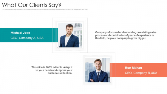 B2B Sales Procedure Counselling What Our Clients Say Ppt Ideas Graphics Tutorials PDF