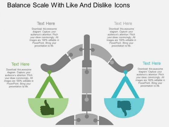 Balance Scale With Like And Dislike Icons Powerpoint Template
