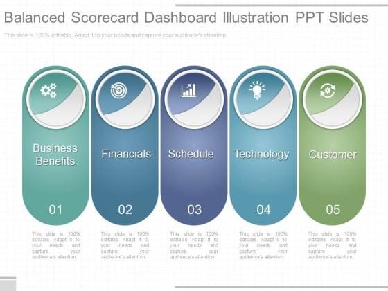Balanced Scorecard Dashboard Illustration Ppt Slides