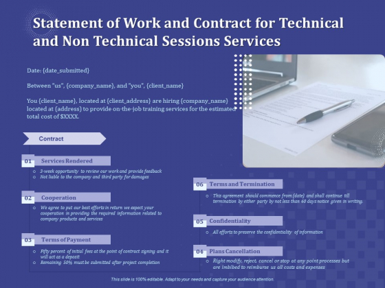 Balancing Skill Developmet Statement Of Work And Contract For Technical And Non Technical Sessions Services Brochure PDF