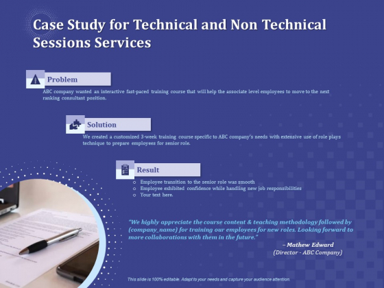Balancing Technical And Non Technical Skill Development Case Study For Technical And Non Technical Sessions Services Guidelines PDF